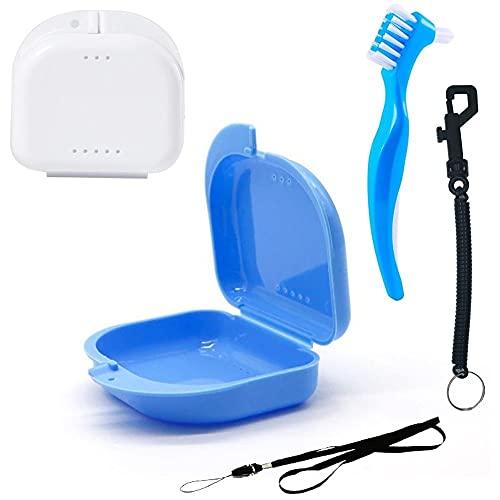 Caja para Ortodoncia con Accesorios de Limpieza y seguridad, Kit completo   estuche Antibacteriano grado Alimentario, Transpirable   para Retenedor, Dentadura postiza, Aparato dental (Azul+Blanco)
