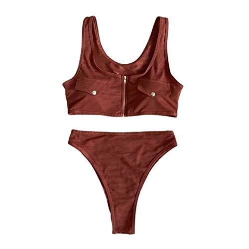 Atractiva de las mujeres del bikiní de la cremallera de la falsificación de bolsillo sujetador de cintura alta de la correa acanalada traje de baño ropa de playa de moda ( Color : Brown , Talla : S )