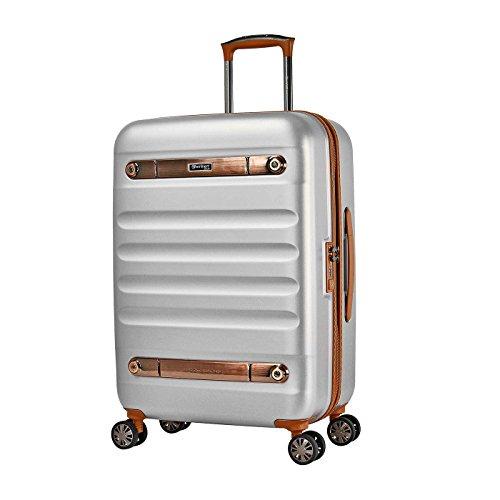 Eminent Koffer Gold Nostalgia 66 cm 73 L Hartschalenkoffer aus 100% Polycarbonat 4 leise Doppelrollen TSA Schloss Reisegepäck Silber