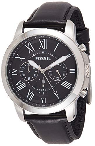Fossil Men's Grant Stainless Steel Analog-Quartz Leather Calfskin Strap, Black, 22 Casual Watch (Model: FS4812IE)