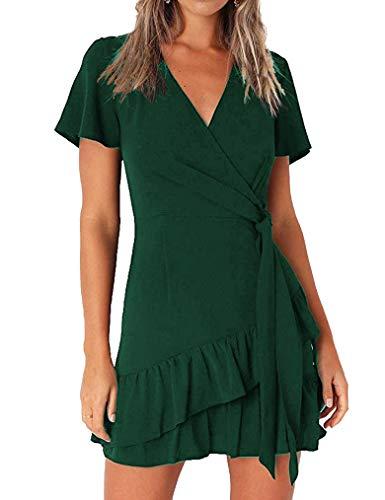 Naggoo Women's Summer Wrap V Neck Solid Ruffle A Line Beach Short Dress(Small, Dark Green)
