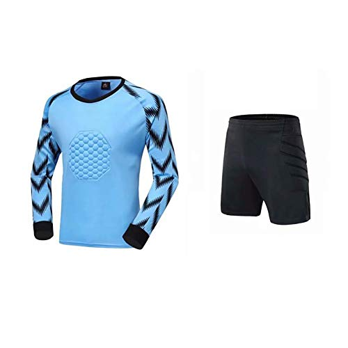 YSPORT Fußball Antikollisions Torwart Uniform Lange Ärmel Kurze Hose Outfit Torwartanzug Drachenhemd (Color : Blue, Size : Medium)