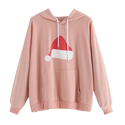LianMengMVP Femme Sweatshirt Capuche Manche Longue de Loisir Sport Col Rond Imprimé Chapeau de Noel Deux Coloris Sweat-Shirts