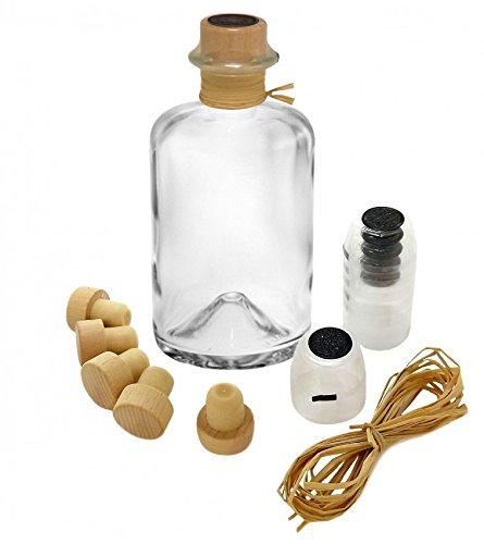 5x Profi Set Apothekerflaschen leer 200 ml Glas Flaschen mit Siegel-Kapsel schwarz Korken Bast zum selbst befüllen VERSAND INNERHALB 24 STD!