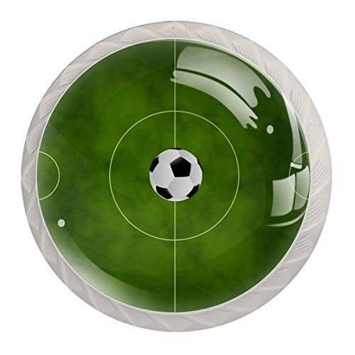 "Soccer Green Field Drawer Pulls and Knobs Crystal Glass Drawer Pulls and Knobs 1.18"" Cupboard Handles 1.18'' Diameter Perfect Design Drawer Dresser Cupboard Wardrobe Pulls Handles (Set of 4)"
