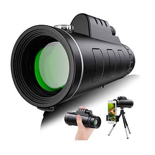 Telescopio Monocular,40x60 HD Impermeable y Antivaho Monoculares de Largo Alcance para Movil con trípode y Adaptador para Smartphone,Ideal para Observación de Aves Caza Conciertos Viaje