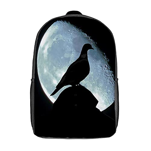 Qtchenglj Travel Laptop Backpack,Pigeon Shadow of Pigeon Dove Bird Blue Moon Planet Mystery Mysterious,Large Business Water Resistant Anti Theft Computer Daypack Slim Durable