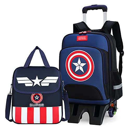 MYYLY Kid Captain America Trolley Valigie Zaino Ragazzi Supereroi 6 Ruote Borsa da Scuola Bambino Viaggi Outdoor Mano Pull Rod Satchel Adolescenti Cartoon Zaino,Blue-L 6 Wheel