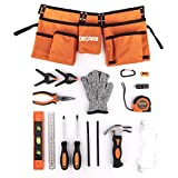 """Decare Kids Tool Set 17 Piece Kids Real Tools with Reinforced Kids Tool Belt for 20""""-32"""" Waist, Children Learning Tool Kit for Woodworking and DIY"""