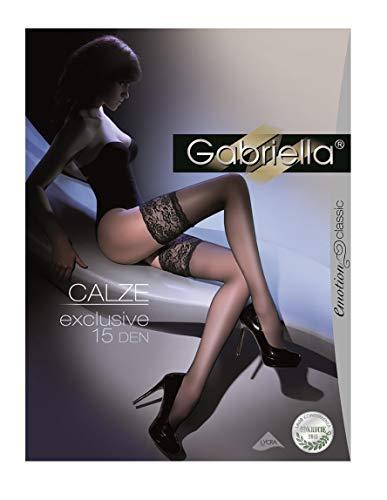 Gabriella Calze Exklusive Tief Spitze Halterlose Strümpfe Gr. X-Small, schwarz