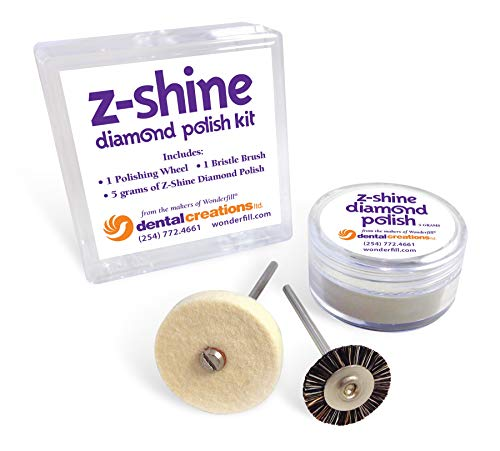 "Dental Creations Z-Shine Diamond Polishing Kit – Zirconia Polishing Paste – High Shine Dental Restoration Polish –Includes 5 Gram Jar of Diamond Polish, 11 Soft Bristle Brush Wheel and 1"" x 1/8"" Felt"