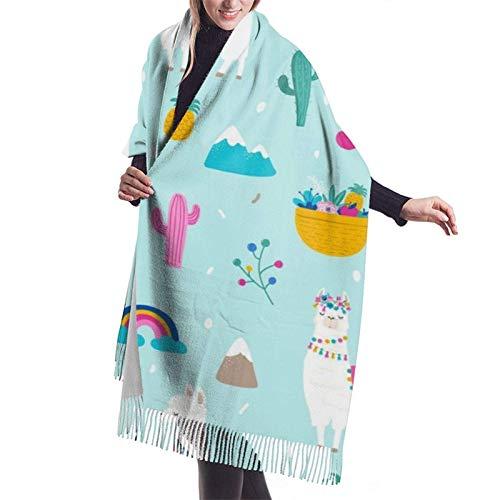 Bonita Alpaca Llama Cactus Frutas tropicales Bufandas de cachemira para mujer Moda Grandes chales cálidos Idea de regalo Chales de invierno Abrigos