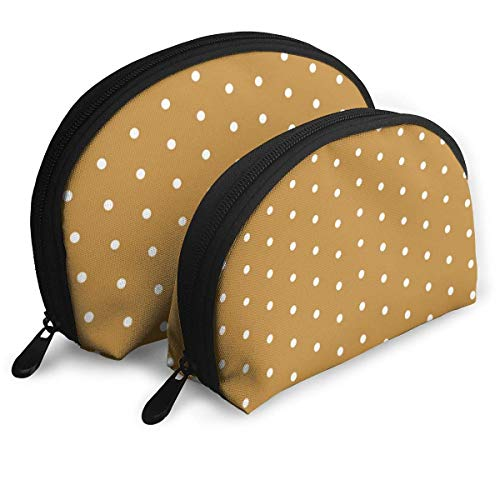 Dot Caramel Honey Spot Dot Sweet Portable Bags Clutch Pouch Coin Purse Cosmetic Travel Storage Bag 2Pcs Stationery