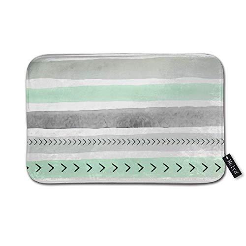 BLSYP Felpudo Mint Green Gray Watercolour Stripes Arrows Indoor/Outdoor Easy Clean Non Slip Backing Entry Way Doormat 24 x 16 Inch