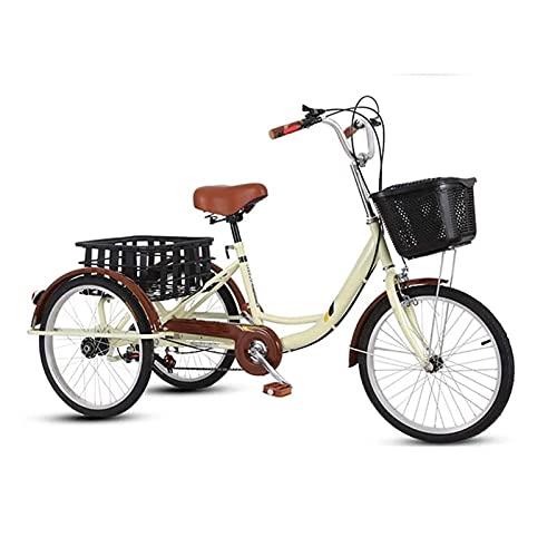 Triciclo Tricycle Triciclos Adultos Trikes Para Adultos 20 Pulgadas 3 Rueda Bicicleta Doble Freno De Doble Carbono Marco De Acero Alto Bicicleta Tres Ruedas Crucero Trike Con Cesta De Compras, Marrón