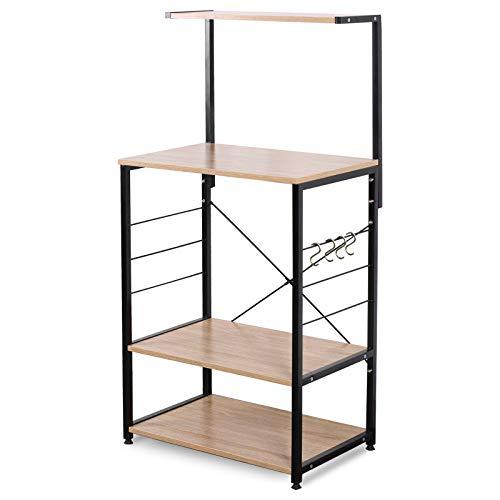 eSituro Standregal Küchenregal Mikrowellenhalter Bäckerregal mit 4 Haken 4 Ablagen Metall+MDF 60x40x123CM SSTR0022