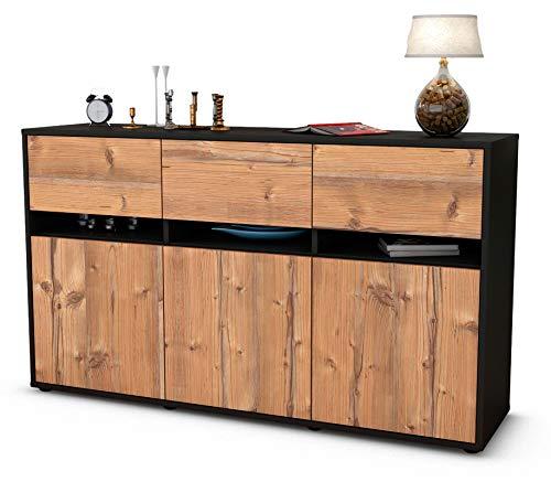 Stil.Zeit Sideboard Dorinde/Korpus anthrazit matt/Front Holz-Design Pinie (136x79x35cm) Push-to-Open Technik und hochwertigen Leichtlaufschienen