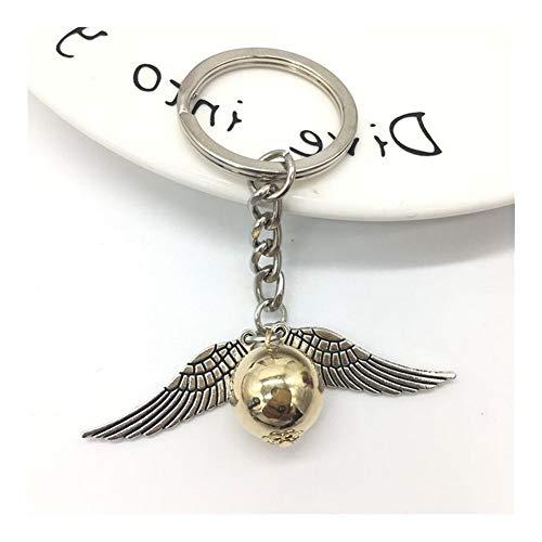 LUOSI Schmuck Goldenen Schnatz Pendent Keychain Vintage Art-Engels-Flügel-Charme-Schlüsselanhänger for Mann-Frauen Schlüsselanhänger (Color : Silver)