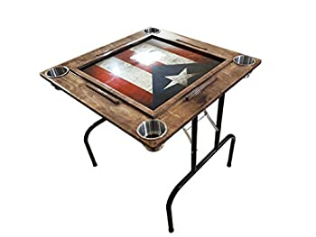 Domino Table with Puerto Rico Flag - Anti-scrash and Water-Resistant Legs Included