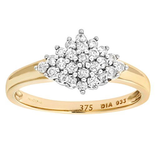 Naava Women's Diamond Cluster Ring, 9 ct Yellow Gold, Cluster Set, Round Cut, 0.33 ct Diamond Weight, I2-I3 Diamond Clarity, Ring , Size R