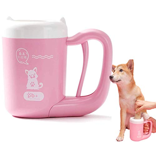 猫犬足洗いカップ ペット 足用クリーナー 半自動式 360°回転 洗浄力抜群 抗菌シリコーン製 ペットブラシ付き 足の汚れ 洗浄でき 飛沫を溢れる防止 小型/中型犬 (M, Pink)