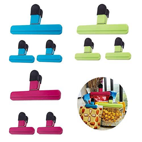 Clips para bolsas de alimentos, clips de sellado de alimentos, para aperitivos de avena en polvo, bolsas de azúcar y otras bolsas de alimentos, paquete de 9 unidades