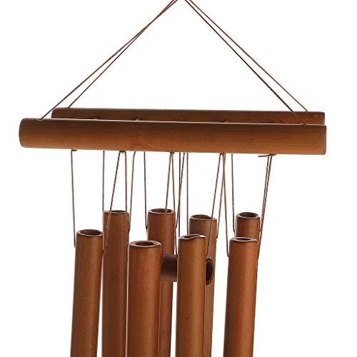 Campana de viento de bambú de madera para decoración colgante de jardín en el hogar