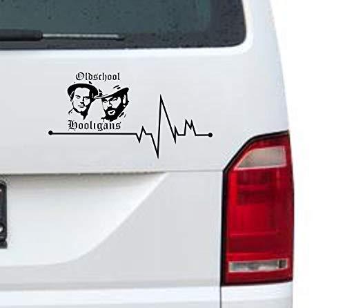 myrockshirt Herzschlag Typ2 Oldschool Hooligans Terence Hill und Bud Spencer Silhouette ca. 20cm Aufkleber für Auto,Lack,Scheibe&Wand, Autoaufkleber Decal Sticker Profi-Qualität