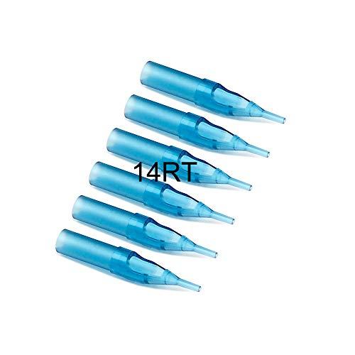 Astuces de tatouage, Ahat 100pcs embouts ronds Astuces de tatouage jetables en plastique bleu pour 1213RL, 1214RL, 1213RS, 1214RS Aiguilles à tatouer (14RT)