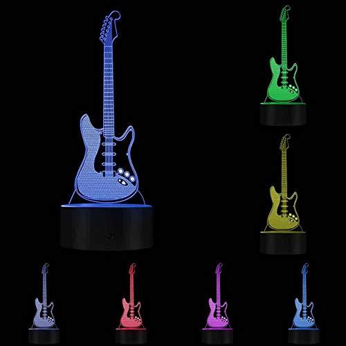 laonieshangmao Optische Täuschung Nachtlicht Gitarre Beleuchtetes Zeichen Musikunterricht S Gitarrist Raumbeleuchtung Dekor Lampe Rock'n'Roll Geschenk Für Musikliebhaber, App Control Base