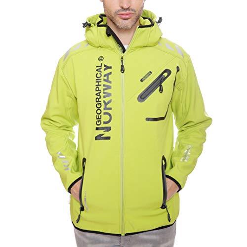 Geographical Norway - Chaqueta Rainman Turbo-Dry para hombre con tejido softshell y capucha Kiwi M