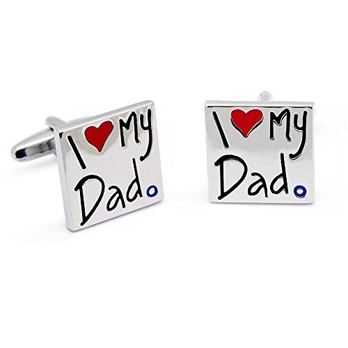 HONEY BEAR I Love My Dad Cufflinks for Men Shirt,Stainless Steel ,Square...