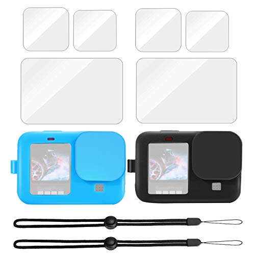2 Pcs Silicone Protective Case (Blue+Black) + 6 Pcs Tempered Glass Screen Protector for GoPro Hero 9 Black, Soft Rubber Cover with Lens Cap and Lanyard Film for Gopro Hero9
