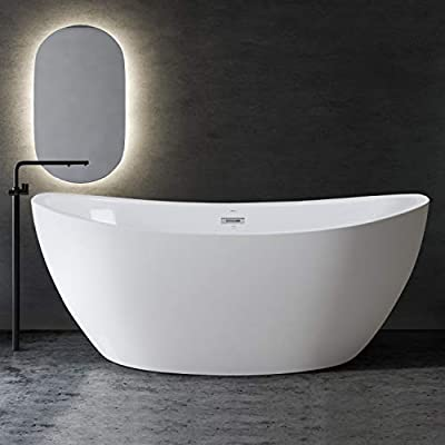 """FerdY Naha 67"""" Acrylic Freestanding Bathtub, Curve Edge Freestanding Soaking Bathtub, Glossy White, cUPC Certified, Toe-Tap Chrome Drain & Overflow Assembly Included, 02588"""