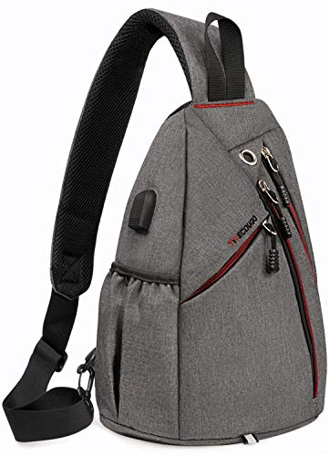 Sports Men Mens 1 Sling Backpack Breathable Lightweight Chest Bag Leather Tactical Shoulder Bags Packs Day Pack Daypack Cross Body Crossbody for Women Men Teens Waterproof Hiking Travel Bag USB Gray