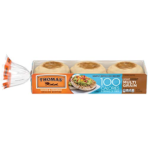 Thomas' Light Multi-Grain English Muffins, 100 Calories & 8g Fiber, 6 count, 12 oz