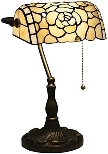 Lámpara de mesa de banquero tradicional, creative E26 Tiffany Style Table Light con sombra de vidrio para decoración lámpara de noche-blanco_15.3in