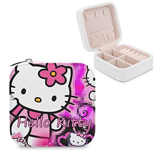 Caja de joyería de dibujos animados Hello Kitty de piel sintética para viajes, para collares, pendientes, pulseras, anillos, relojes, caja de almacenamiento para mujeres