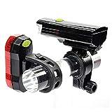 Luz de bicicleta, luces de bicicleta impermeable LED para bicicleta Set de luces delanteras de bicicleta + linterna trasera de seguridad