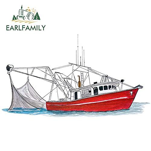 13 cm x 7,3 cm Cartoon Autoaufkleber Shrimp Boat Fine Art Decal Boot Angeln Shrimping Shrimp Life Geschenk Auto Decor