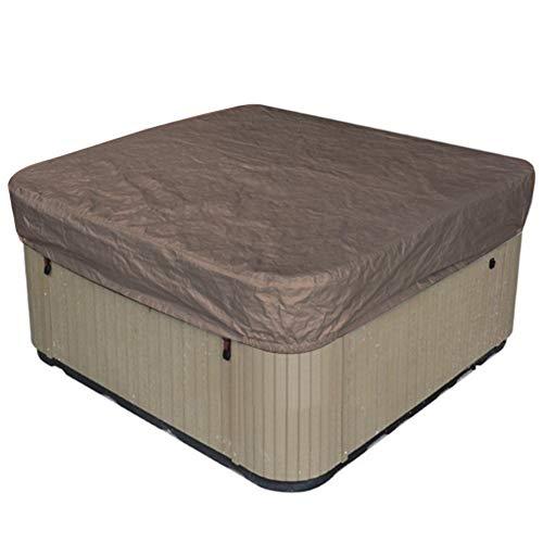 Copertura per vasca idromassaggio per esterni Copertura quadrata impermeabile per protezione solare 90,9x90,9x11,8 pollici(caffè)