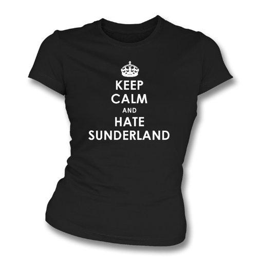 PunkFootball Keep Calm y Odio Sunderland Newcastle United Camiseta de Slimfit para...