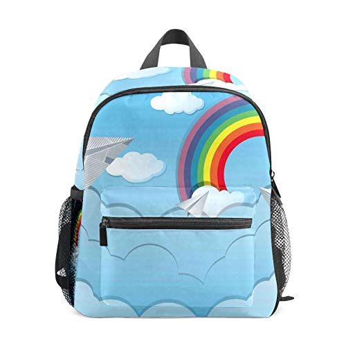 Backpack Student Bookbag for Kids Girls Boys,Sky Scene with Paper Airplanes Casual Daypack School Travel Bag Organizer Gift