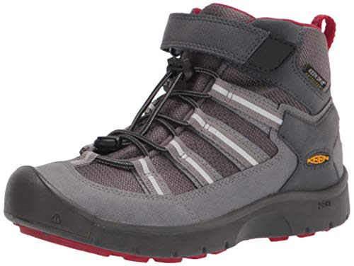 KEEN Big Kid's Hikeport 2 Mid Height Waterproof Hiking Boot, Magnet/Chili Pepper, 4 BK (Big Kid's) US