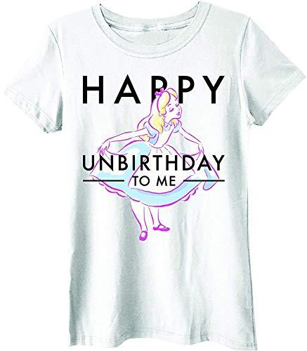 Disney Alice in Wonderland Happy Unbirthday Juniors T-Shirt … (Large, White)