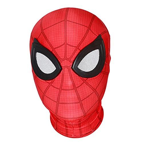 Máscara Cosplay para Niños Casco Spiderman Casco Los Vengadores Capucha Carnaval Tocado Rendimiento, Accesorios Cabeza Halloween Que Cubre La Cabeza, Disfraz De Película, Vestir,Red-Kid