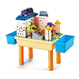 Akszone 5 in 1 Multi Kids Activity Table Set with 1 Chairs and 60 Pcs Blocks Compatible Blocks.Water Table,Sand Table and Building Blocks Table with 2 Storage Boxes,for Toddlers Activity