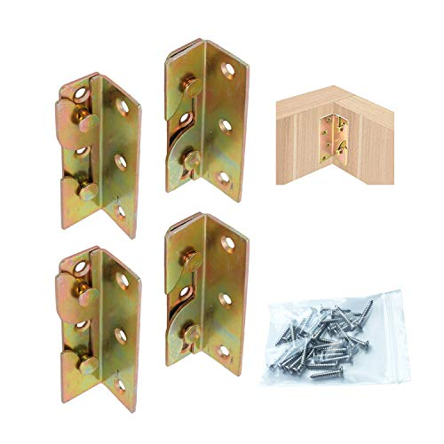 LIKERAINY Schwerlast Bettgeländer Bettverbinder Bettbeschlag Bettwinkel zum Einhängen Einhängebeschlag für Bettgeländer Bettrahmenprojekt Metall Gelb Chromatiert 4er Set