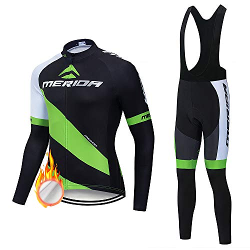 Zipper Long Sleeve Bicycle Jersey+3D Gel Pad Cycling Pant,Winter Thermal Fleece Cycling Clothing for Men