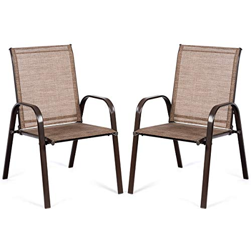 Giantex 2 Piece Patio Chairs, Outdoor Camping Chairs with Breathable Fabric, Set of 2 Garden Chairs with Armrest High Backrest for Garden Patio Pool Beach Yard Space Saving (1, Brown)